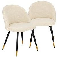 Product photograph showing Pair Of Boucle Open Back Dining Chairs