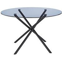 Product photograph showing 120 Cm Round Glass Dining Table