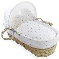Product photograph showing Clair De Lune Lullaby Hearts Palm Moses Basket