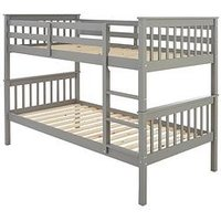 Product photograph showing Novara Bunk Bed - Grey - Bed Frame With 2 Premium Mattresses