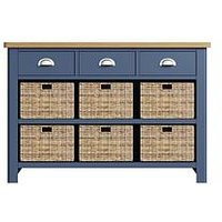 Product photograph showing K-interiors Fontana 3 Drawer 6 Drawer Sideboard - Blue