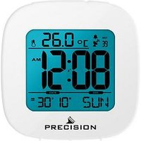 Product photograph showing Precision Precision Radio Controlled Lcd White Alarm Clock