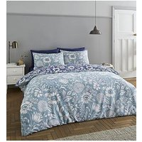 Product photograph showing Catherine Lansfield Catherine Lansfield Tapestry Floral Easy Care Duvet Cover Set Blue