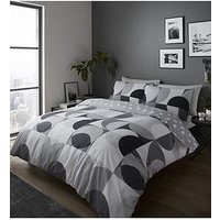 Product photograph showing Catherine Lansfield Sirkel Geo Duvet Cover Set In Monochrome