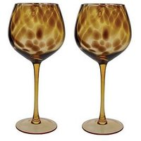 Product photograph showing Barcraft Tortoise Shell Set Of 2 Wine Glasses