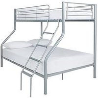 Kidspace Domino Trio Bunk Bed With Optional Mattress - Bunk Bed Frame With Standard Mattress, Silver