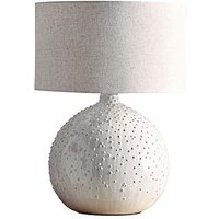 Product photograph showing Cox Cox Glazed Dots Table Lamp - White