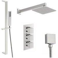 Product photograph showing Victoria Plum Square Concealed Triple Valve Shower Set