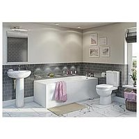 Product photograph showing Victoria Plum Straight Bath Suite With Close Coupled Toilet And Full Pedestal Basin 1700 X 700