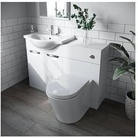 Product photograph showing Victoria Plum White Vanity Combination Unit With Back To Wall Toilet 1060mm