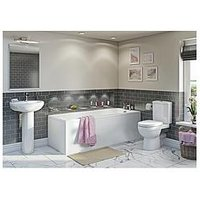 Product photograph showing Victoria Plum Straight Bath Suite With Close Coupled Toilet And Full Pedestal Basin 1500 X 700
