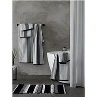 Product photograph showing Catherine Lansfield Textured Stripe Mono Hand Towel Pair