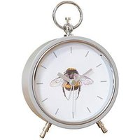 Product photograph showing Hestia Bumblebee Grey Metal Alarm Clock