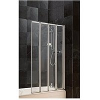 Product photograph showing Aqualux 4 Fold Bath Shower Screen