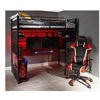 Product photograph showing X Rocker Battlestation High Sleeper Bed And Desk