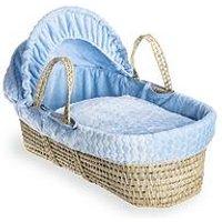 Product photograph showing Clair De Lune Marshmallow Palm Moses Basket - Blue