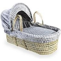 Product photograph showing Clair De Lune Marshmallow Palm Moses Basket - Grey