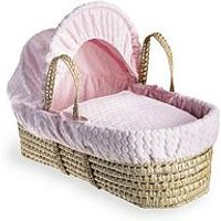 Product photograph showing Clair De Lune Marshmallow Palm Moses Basket - Pink