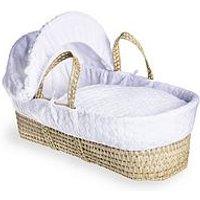 Product photograph showing Clair De Lune Marshmallow Palm Moses Basket - White