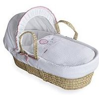 Product photograph showing Clair De Lune Over The Moon Palm Moses Basket - Pink