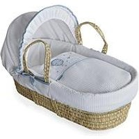 Product photograph showing Clair De Lune Over The Moon Palm Moses Basket - Blue