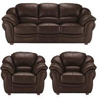 Product photograph showing Napoli Leather 3 Seater Sofa 2 Armchairs Set Buy And Save