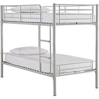 Product photograph showing Domino Metal Bunk Bed Frame With Mattress Options - Bunk Bed Frame With 2 Premium Mattresses