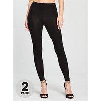 V by Very 2 Pack Leggings - Black, Black, Size 8, Women