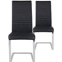Product photograph showing Pair Of Jet Faux Leather Cantilever Dining Chairs - Black