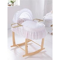 Product photograph showing Clair De Lune Clair De Lune Broderie Anglaise Palm Moses Basket With Traditional Skirt