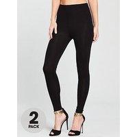 V by Very Petite 2 Pack High Waisted Leggings, Black Black, Size 8, Women