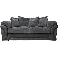 Maze Fabric and Faux Leather 3-Seater Sofa