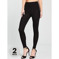 V by Very Tall High Waisted Leggings (2 pack), Black Black, Size 16, Women