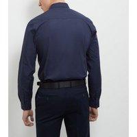 Navy Cotton Mix Long Sleeve Shirt New Look
