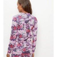 Pink Floral Camo Print Sweatshirt New Look
