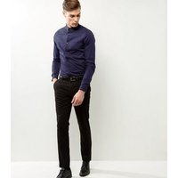 Blue Stretch Slim Fit Long Sleeve Shirt New Look