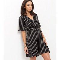 Monochrome Stripe Wrap Front Dress New Look