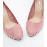 Wide Fit Pink Suedette Platform Court Shoes New Look