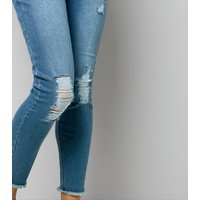 Maternity Blue Ripped Knee Under Bump Jeans New Look