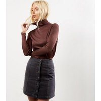 Black Button Front A-Line Skirt New Look