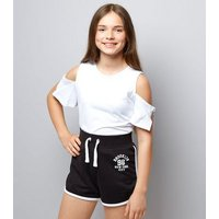 Teens Black Brooklyn 98 Print Shorts New Look