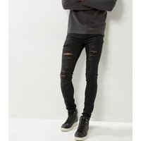 Black Extreme Ripped Super Stretch Skinny Jeans New Look