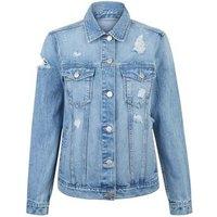 Teens Blue Ripped Oversized Denim Jacket New Look