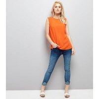 Orange D Ring Trim Woven Vest New Look