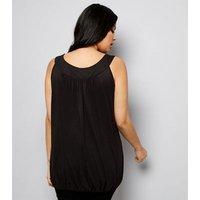 Curves Black Bubble Hem Vest New Look