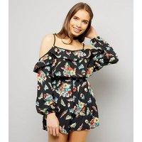Black Floral Print Frill Trim Cold Shoulder Playsuit New Look