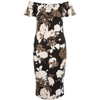 AX ParisAX Paris Black Floral Print Bardot Neck Bodycon Dress New Look