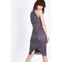AX Paris Grey Lace High Neck Dress New Look