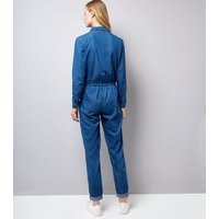 Blue Zip Front Long Sleeve Jumpsuit New Look