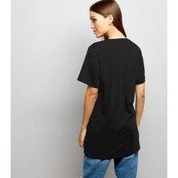Black Lace Up Corset Longline T-Shirt New Look